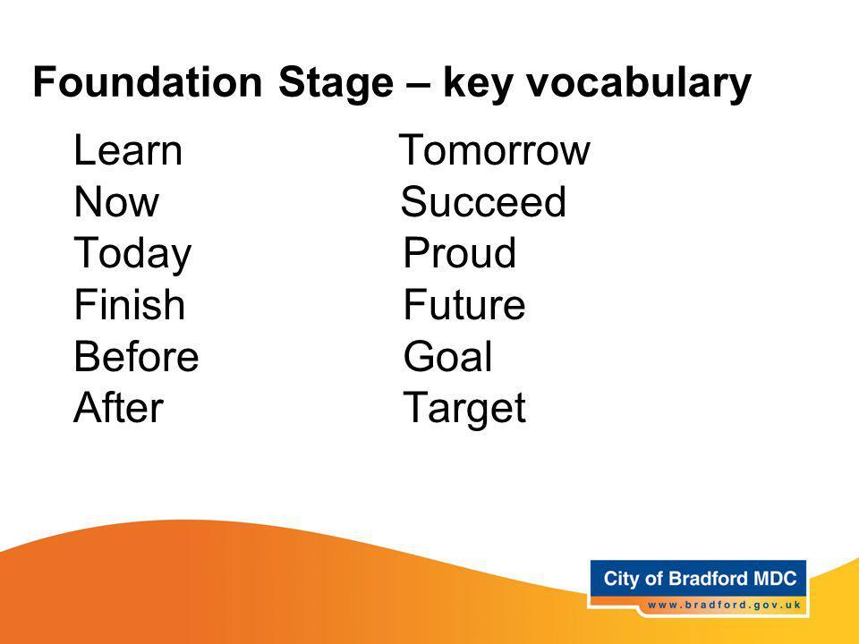 Foundation Stage – key vocabulary