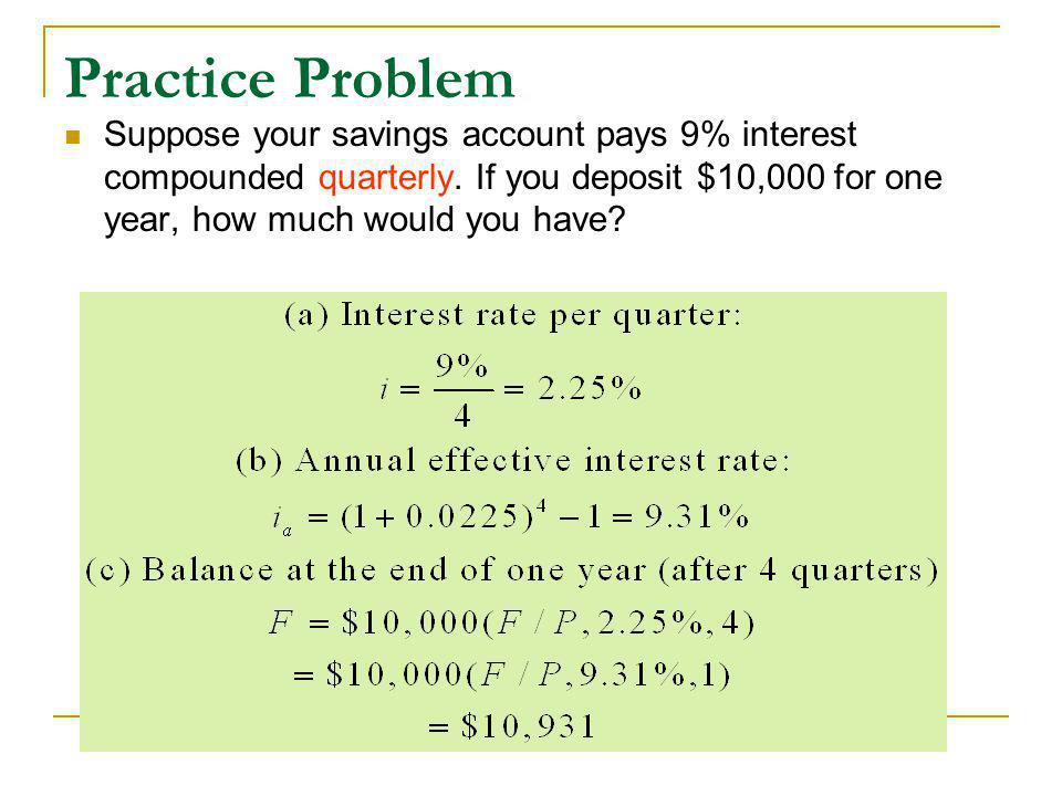 Practice Problem Suppose your savings account pays 9% interest compounded quarterly.