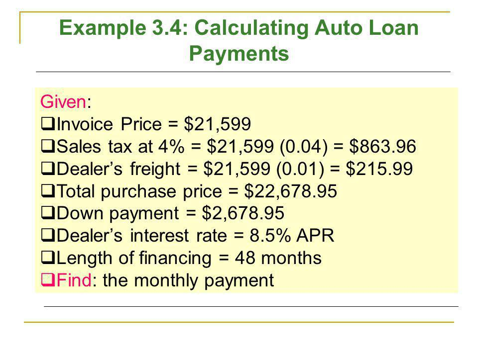 Example 3.4: Calculating Auto Loan Payments