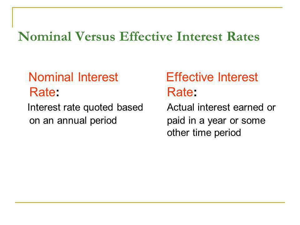 Nominal Versus Effective Interest Rates