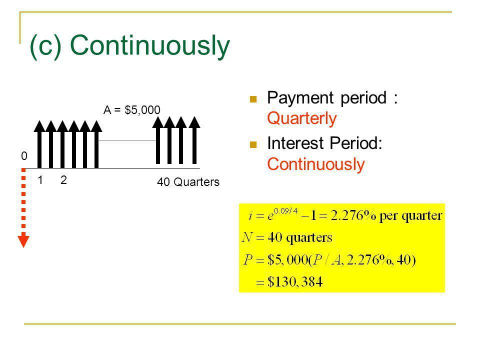 (c) Continuously Payment period : Quarterly