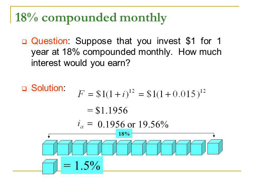 18% compounded monthly = 1.5% = $1.1956 0.1956 or 19.56%