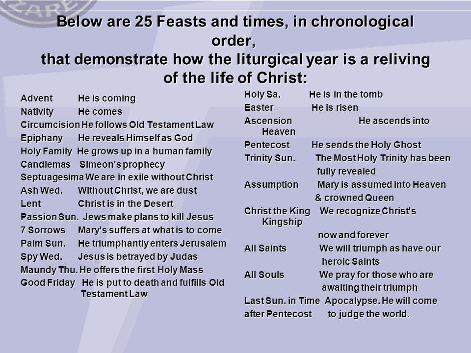 Below are 25 Feasts and times, in chronological order, that demonstrate how the liturgical year is a reliving of the life of Christ:
