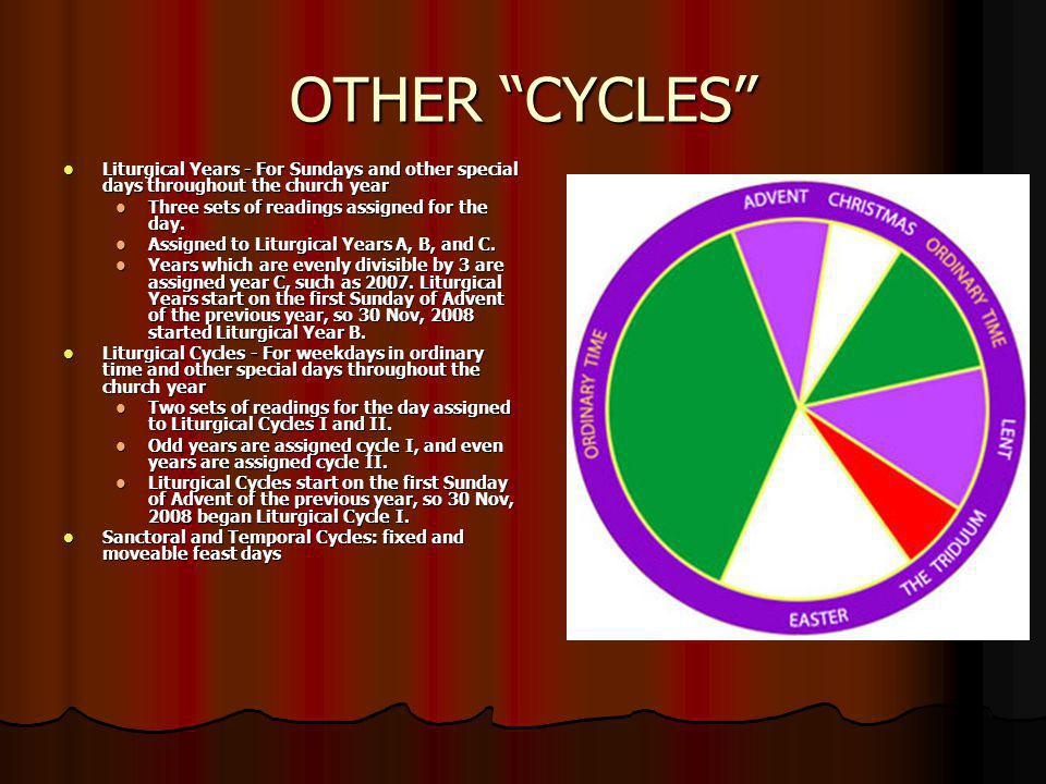 OTHER CYCLES Liturgical Years - For Sundays and other special days throughout the church year. Three sets of readings assigned for the day.