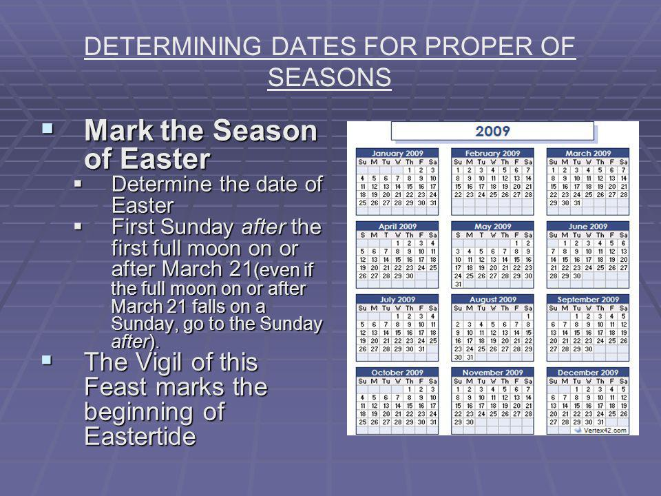DETERMINING DATES FOR PROPER OF SEASONS