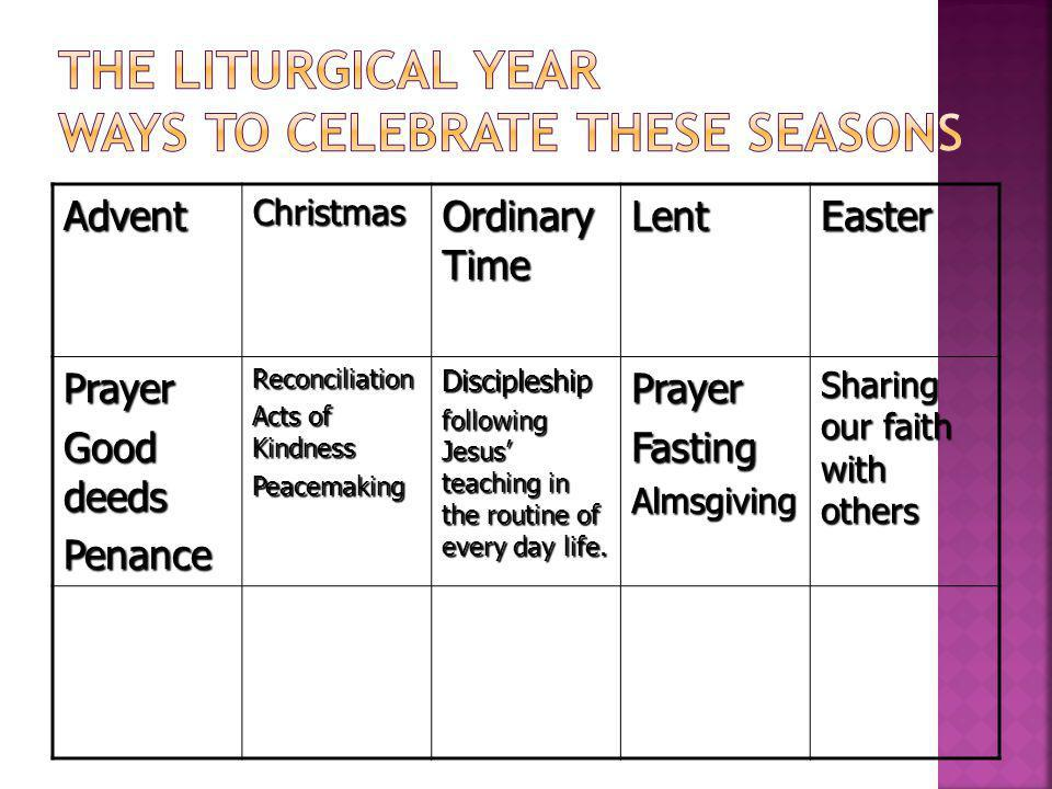 The Liturgical Year Ways to Celebrate these seasons