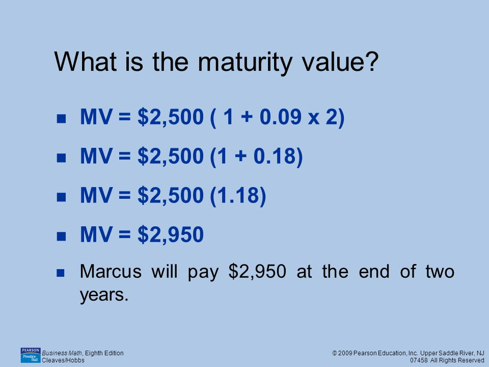 What is the maturity value