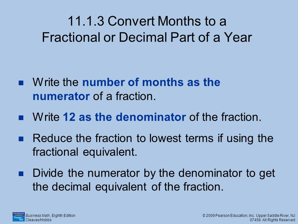 11.1.3 Convert Months to a Fractional or Decimal Part of a Year