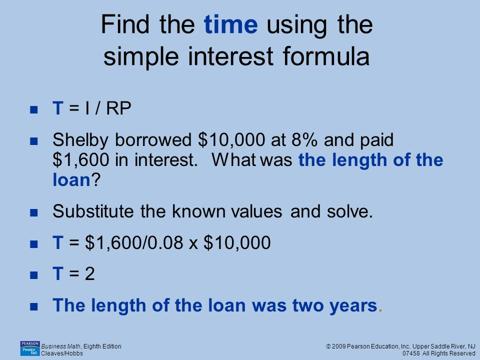 Find the time using the simple interest formula
