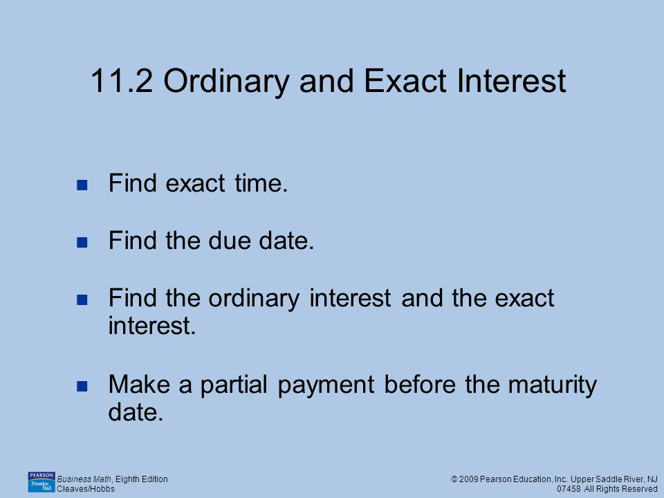11.2 Ordinary and Exact Interest