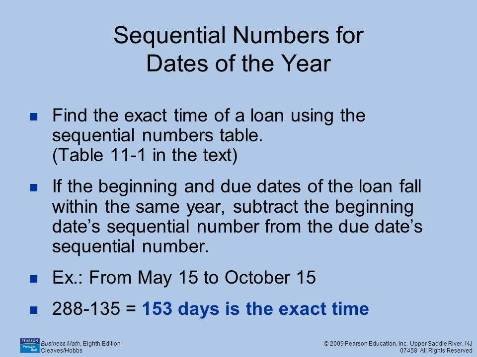 Sequential Numbers for Dates of the Year