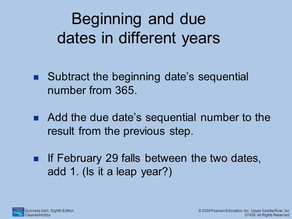 Beginning and due dates in different years