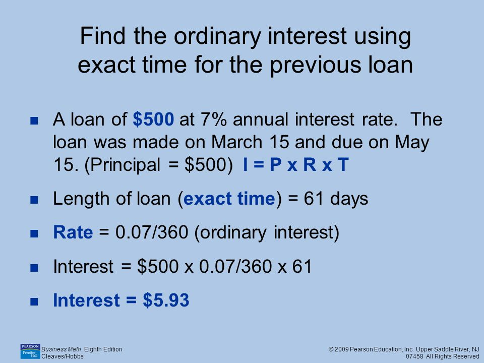 Find the ordinary interest using exact time for the previous loan