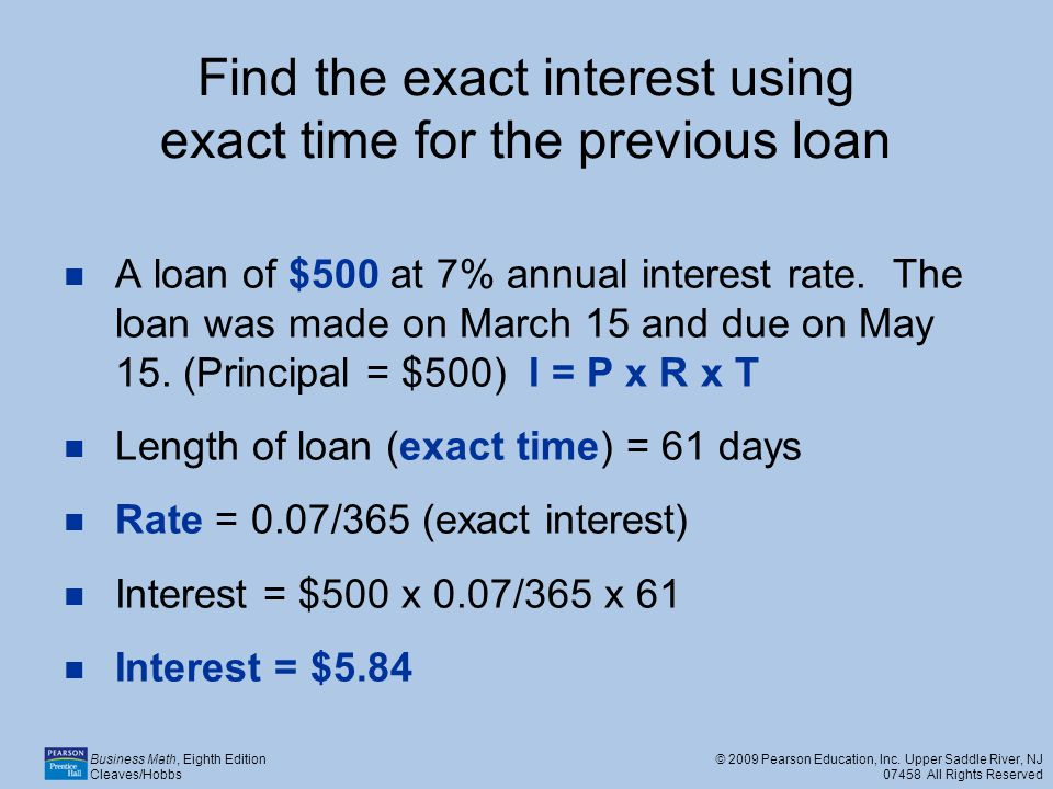 Find the exact interest using exact time for the previous loan
