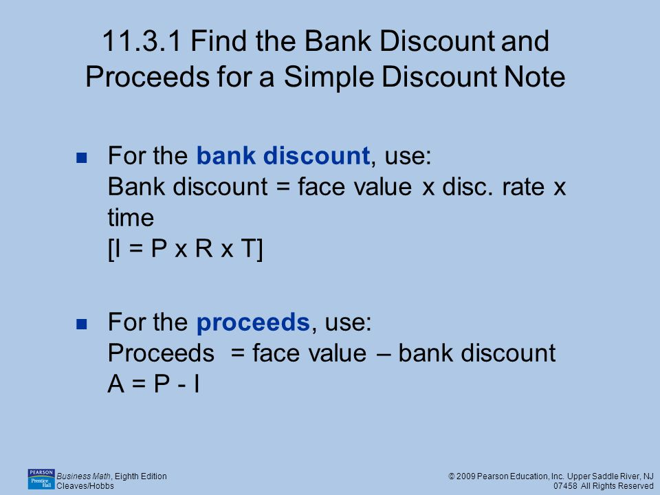 11.3.1 Find the Bank Discount and Proceeds for a Simple Discount Note