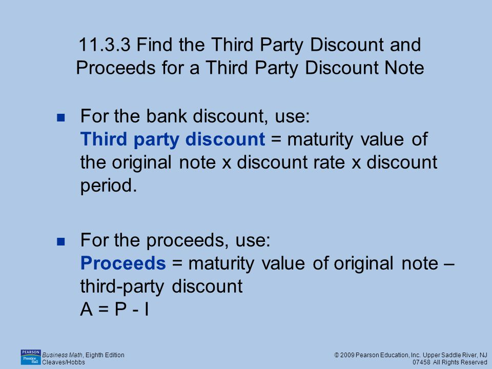 11.3.3 Find the Third Party Discount and Proceeds for a Third Party Discount Note