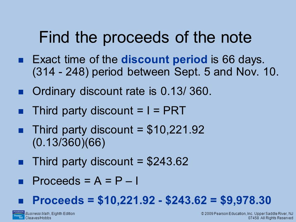 Find the proceeds of the note