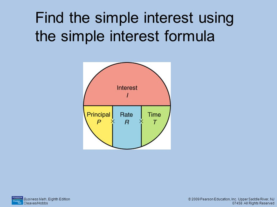 Find the simple interest using the simple interest formula