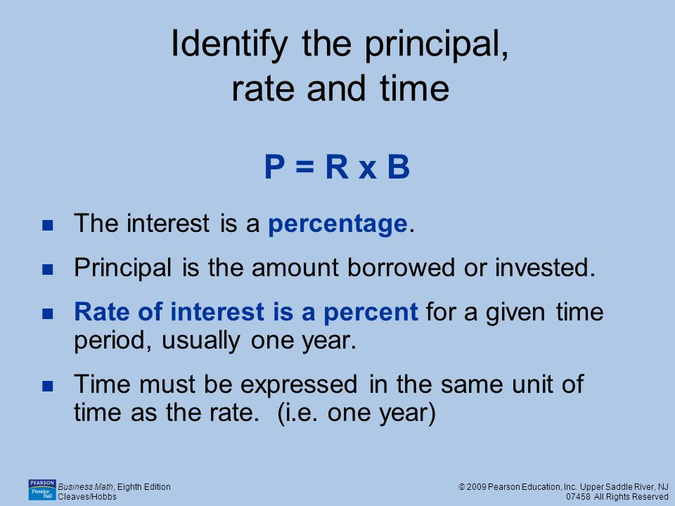 Identify the principal, rate and time