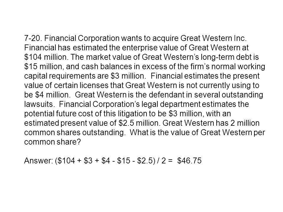 7-20. Financial Corporation wants to acquire Great Western Inc