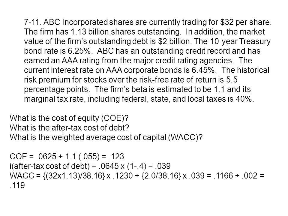 7-11. ABC Incorporated shares are currently trading for $32 per share