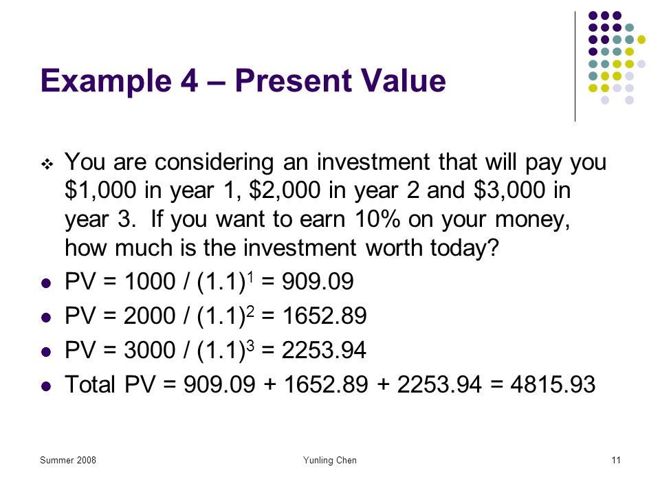 Example 4 – Present Value