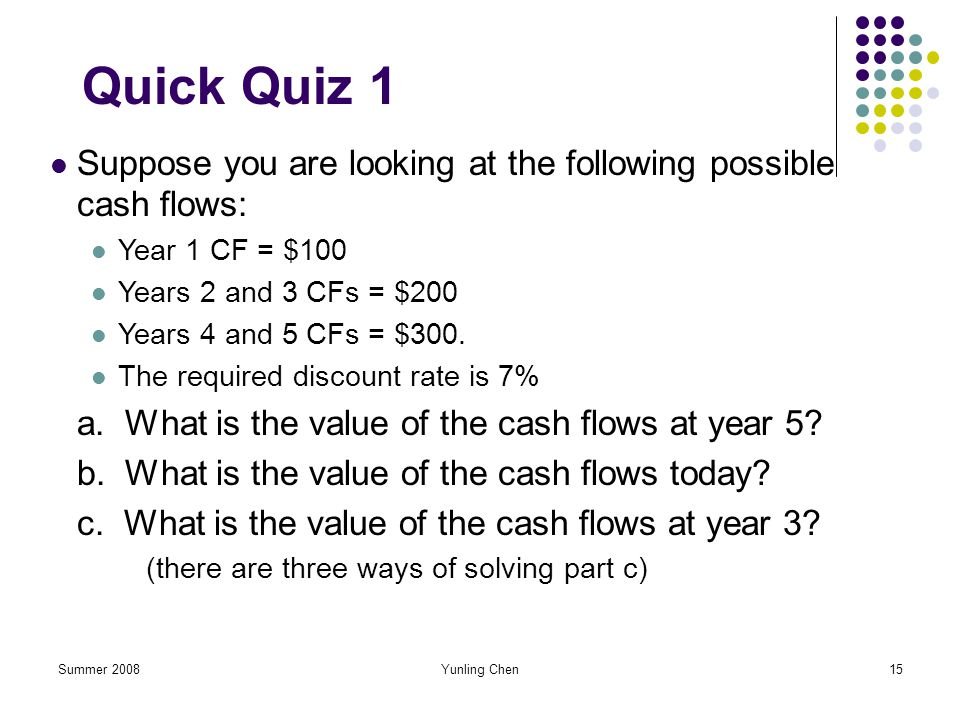 Quick Quiz 1 Suppose you are looking at the following possible cash flows: Year 1 CF = $100. Years 2 and 3 CFs = $200.
