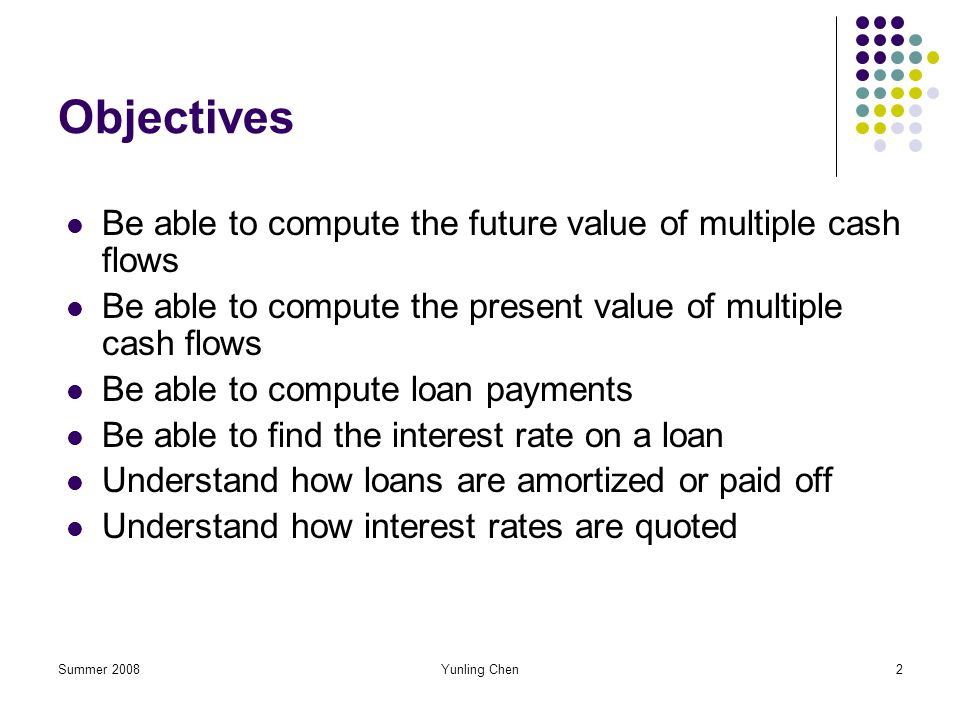 Objectives Be able to compute the future value of multiple cash flows