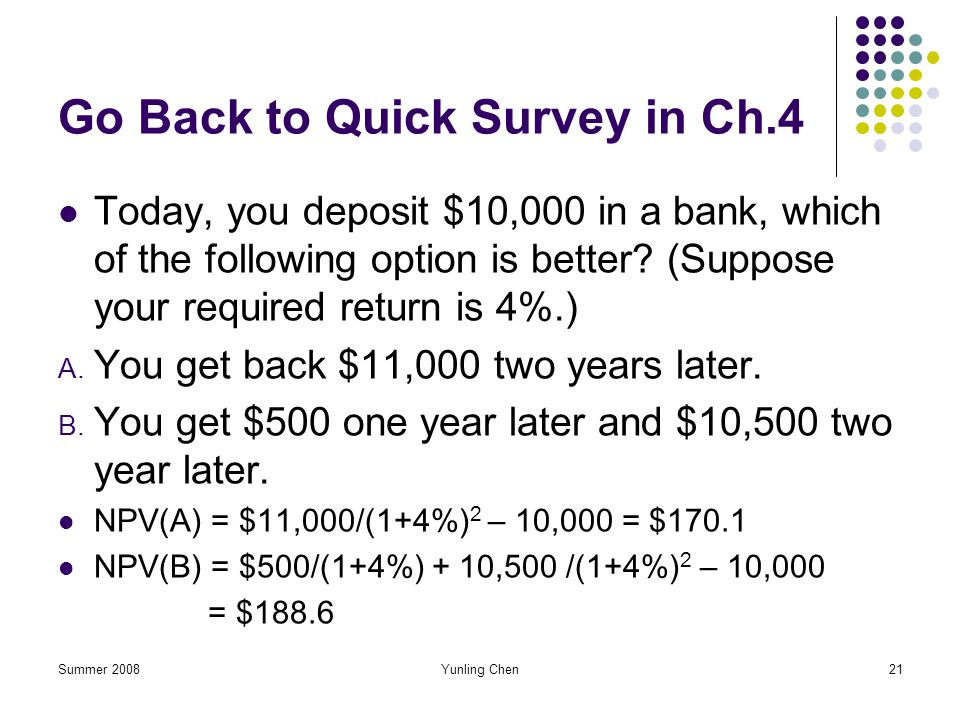 Go Back to Quick Survey in Ch.4