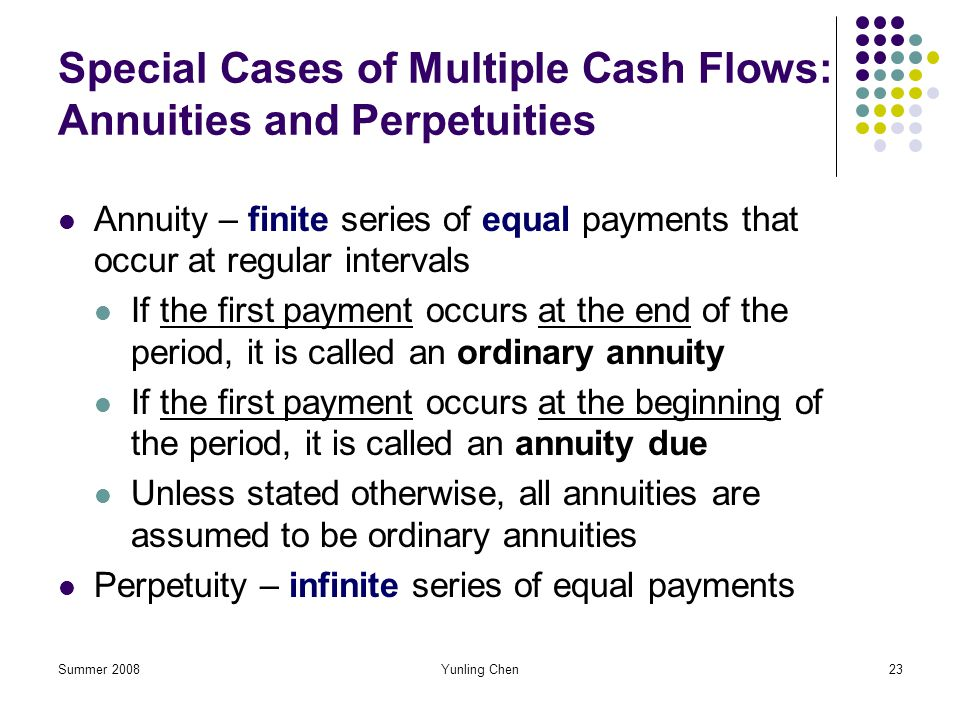Special Cases of Multiple Cash Flows: Annuities and Perpetuities