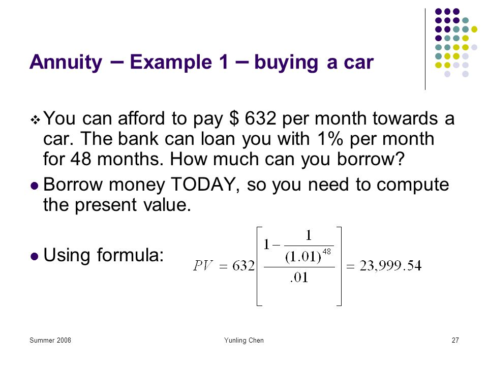 Annuity – Example 1 – buying a car