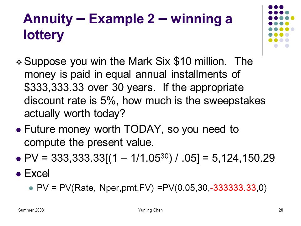 Annuity – Example 2 – winning a lottery