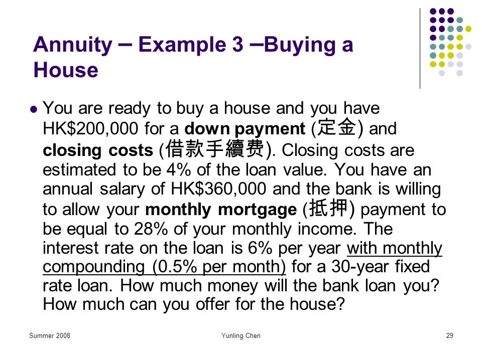 Annuity – Example 3 –Buying a House