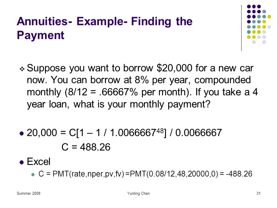 Annuities- Example- Finding the Payment