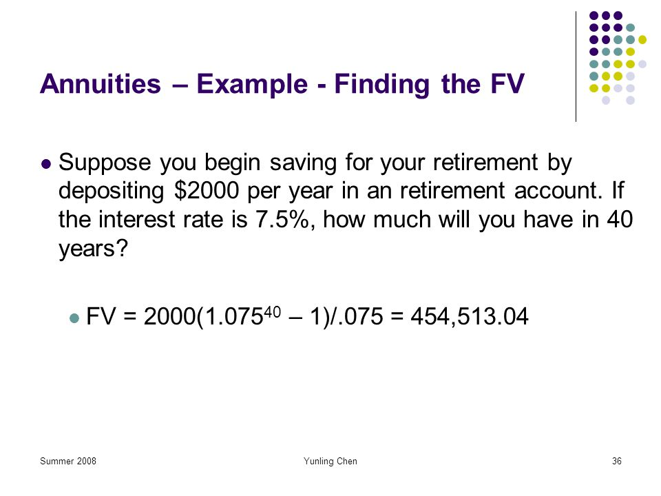 Annuities – Example - Finding the FV