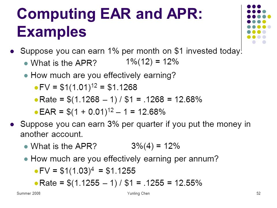 Computing EAR and APR: Examples