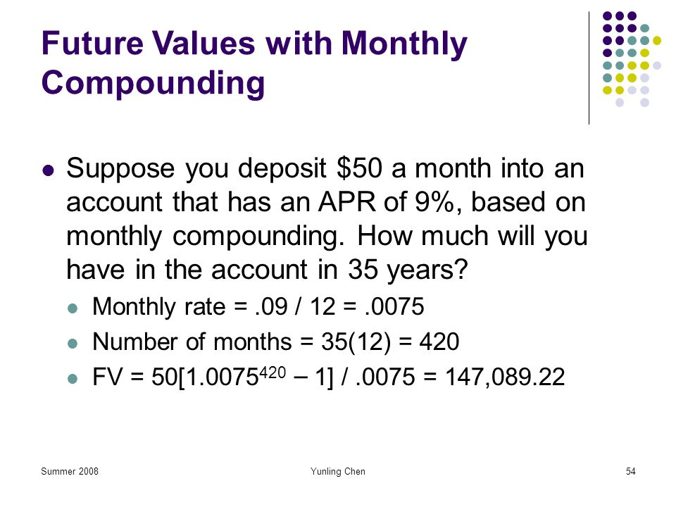 Future Values with Monthly Compounding