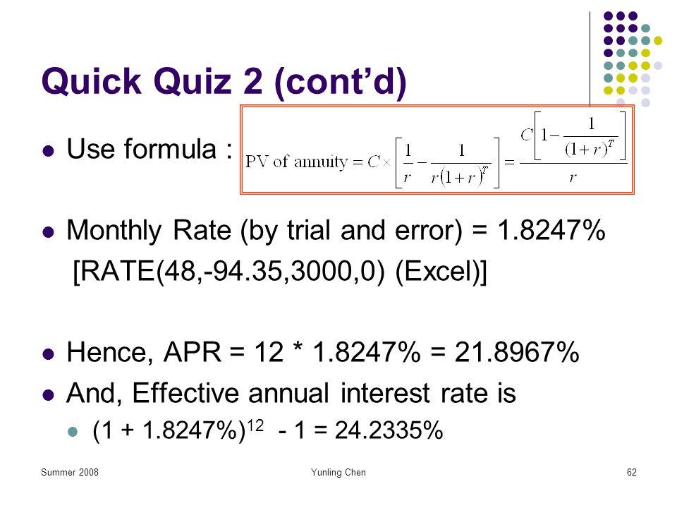 Quick Quiz 2 (cont'd) Use formula :
