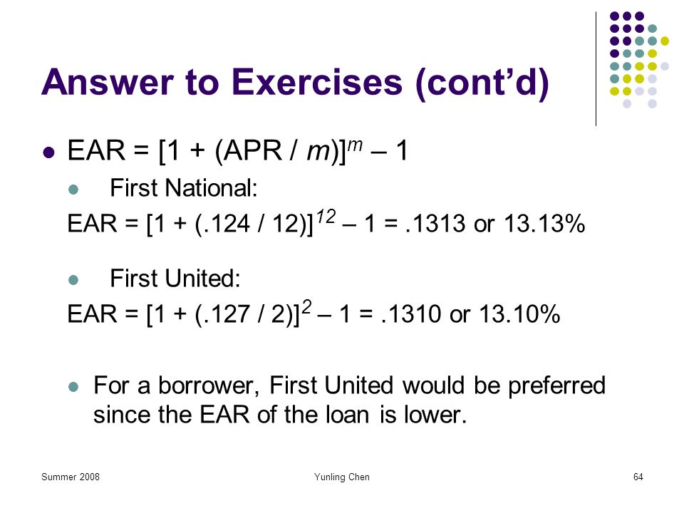 Answer to Exercises (cont'd)