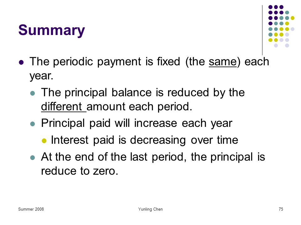 Summary The periodic payment is fixed (the same) each year.