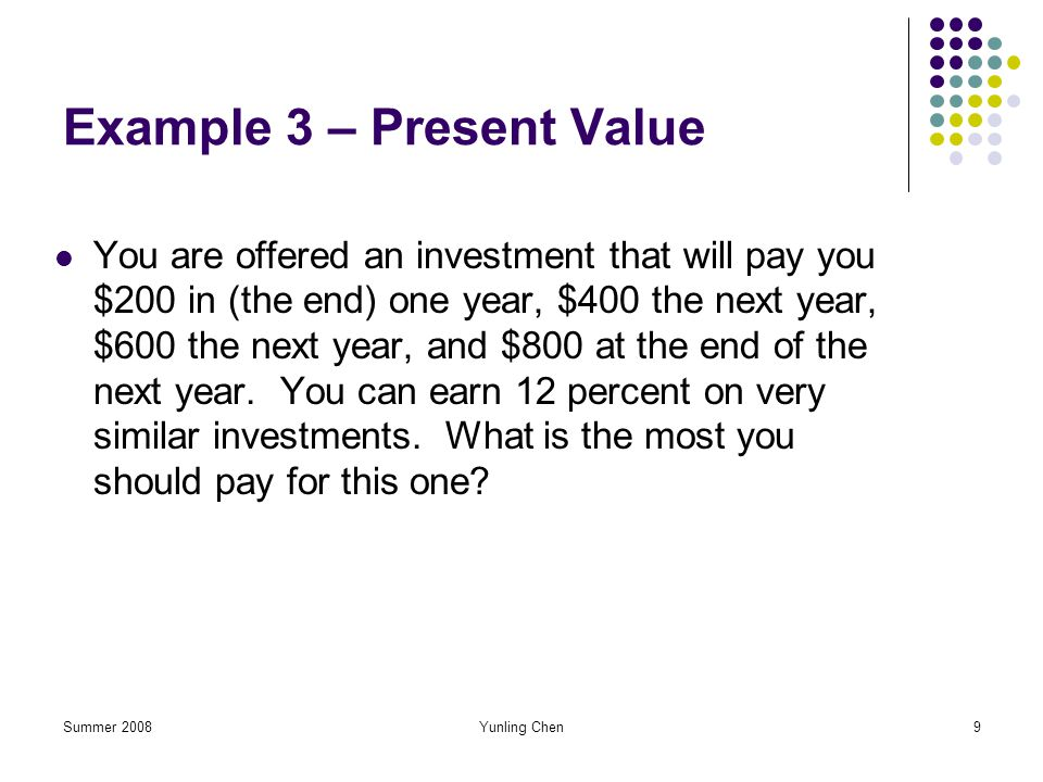 Example 3 – Present Value