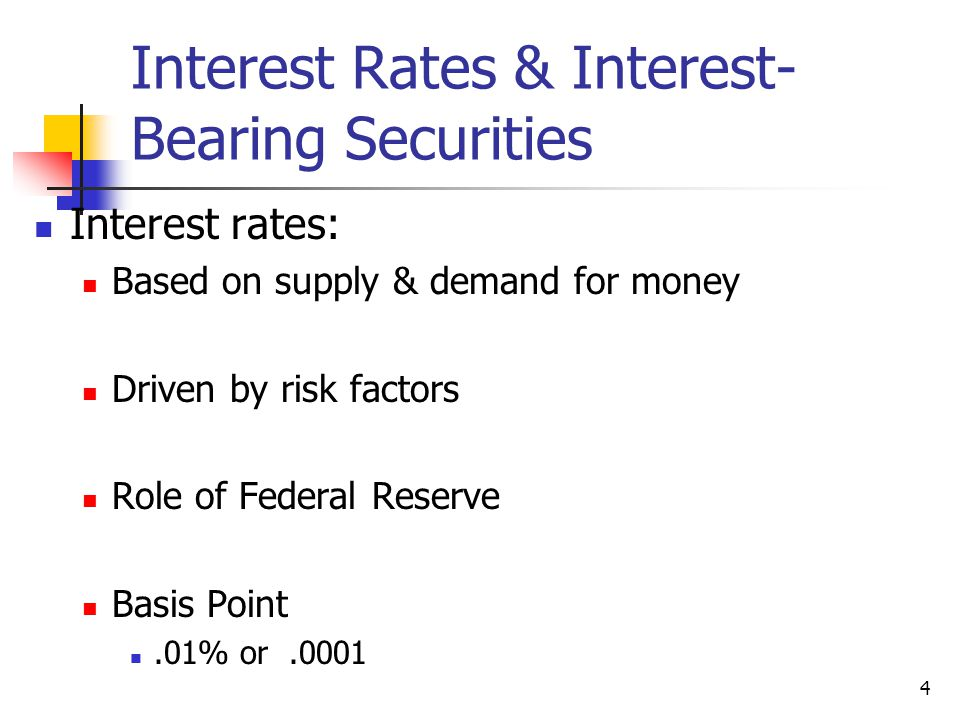 Interest Rates & Interest-Bearing Securities