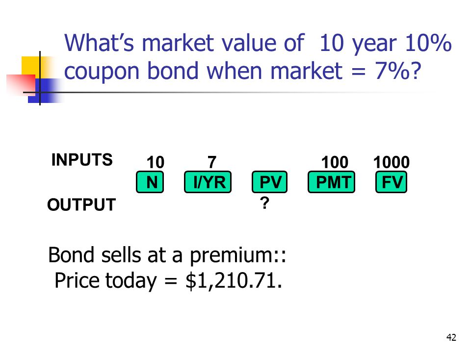 What's market value of 10 year 10% coupon bond when market = 7%