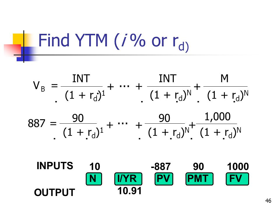 Find YTM (i % or rd)             ... ... INT INT M V = + +