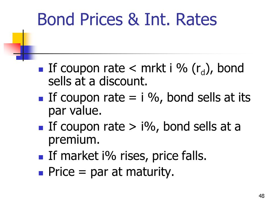 Bond Prices & Int. Rates If coupon rate < mrkt i % (rd), bond sells at a discount. If coupon rate = i %, bond sells at its par value.