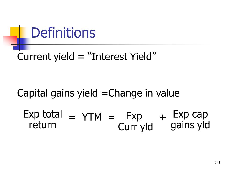 Definitions Current yield = Interest Yield