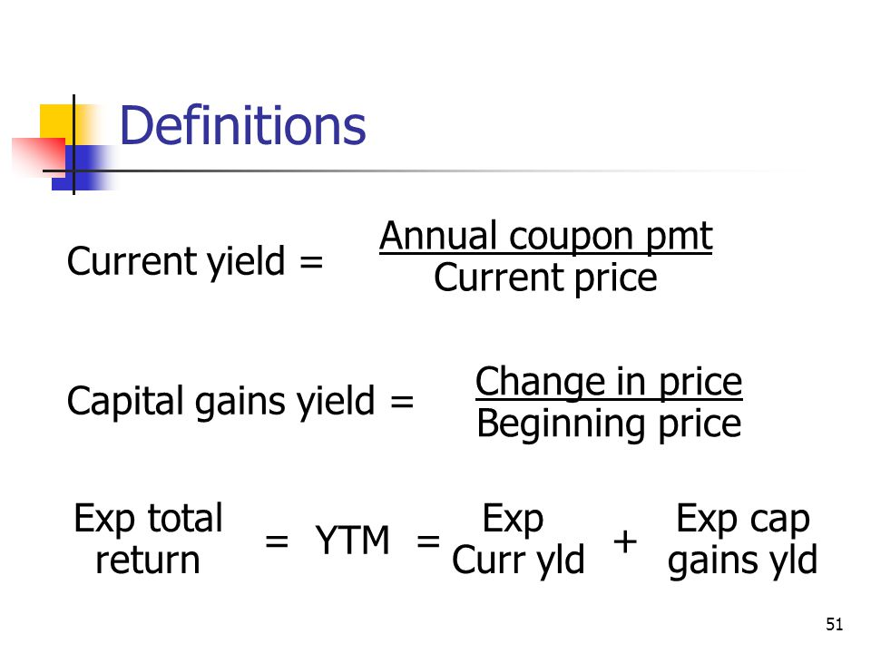 Definitions Annual coupon pmt Current price Current yield =