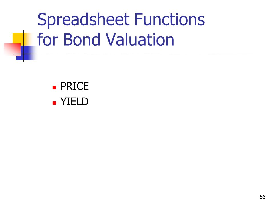 Spreadsheet Functions for Bond Valuation