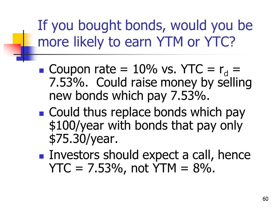 If you bought bonds, would you be more likely to earn YTM or YTC