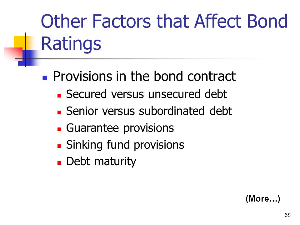 Other Factors that Affect Bond Ratings